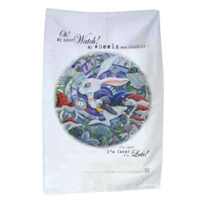 The White Rabbit Tea Towel