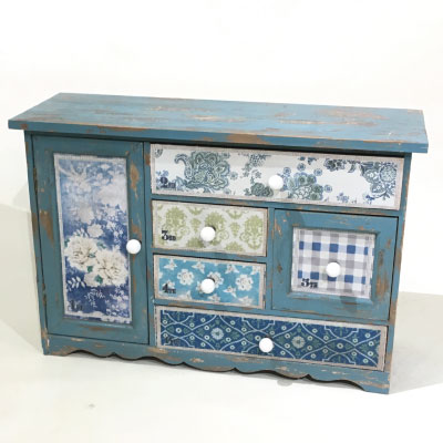 Charming Little Turquoise Boho Cupboard